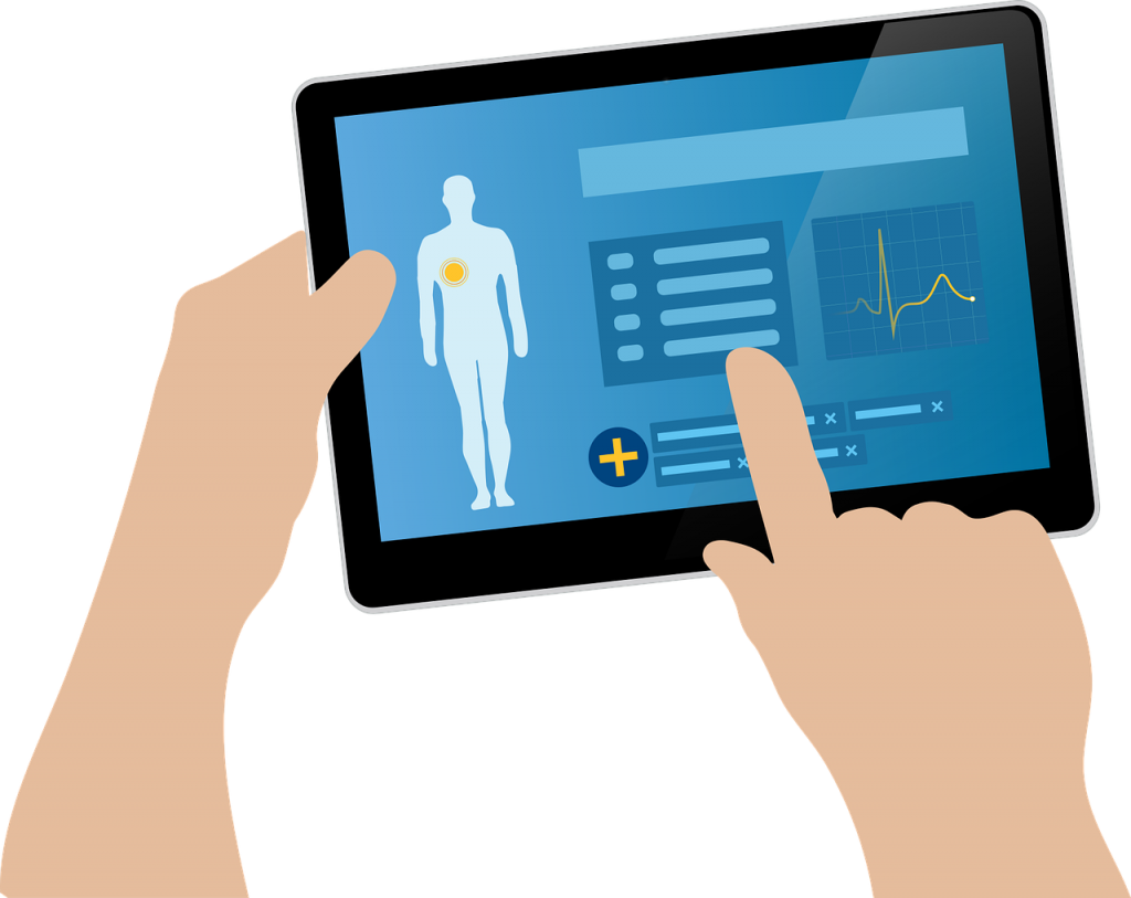 Illustration of a fitness app on a tablet